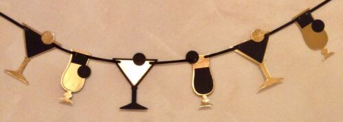 ART DECO STYLE COCKTAIL BANNER BLACK AND GOLD PARTY BUNTING 8 GLASSES
