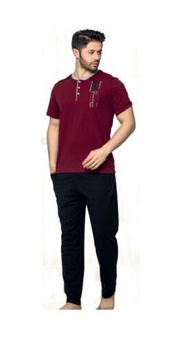 Herren Pyjama Schlafanzug,Nachtwäsche 2-Teiler Hose und Shirt 20389