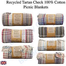 Large Navy Side Stripe Cotton Blanket Soft Throw Rug Picnic Sporty Beach120x150