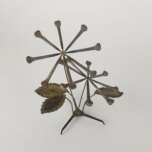 Mid Century Nail Art Sculpture Flowers Atomic Metal Mod Pop Desk Top Vintage