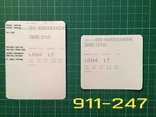 Porsche Boxster Style 2 VIN Data Bonnet Hood Maintenance Book Labels Stickers