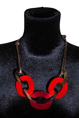 Horn Schmuck Halskette aus lackiertem Horn mit verstellbarem Band aus Baumwolle