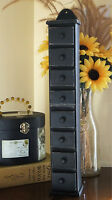 Primitive Americana Country Tall Wood Spice Box Rack Apothecary Cabinet Black