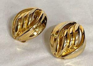 Vintage-Gold-Tone-Clip-On-Earrings-80s-90s-Power-Statement-Twist