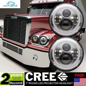 Led For Headlights >> 7 Chrome Led Headlights 2x Halo Angle Eyes Retrofit For