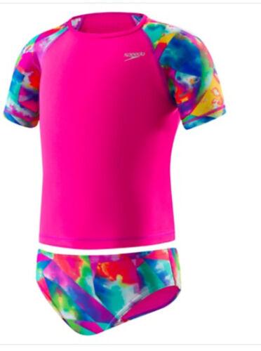 Speedo Begin to Swim Toddler Printed Rash Guard 2PC Set Electric Pink NEW