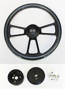 Nova-Chevelle-Impala-El-Camino-Steering-Wheel-Carbon-Fiber-on-Black-14-034-SS-Cap