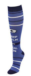 034-Keep-Calm-and-Heal-On-034-Nurse-Medical-10-14mmHG-Fashion-Compression-Socks-Blue