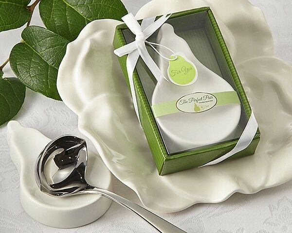 48 The Perfect Pair Ceramic Pear Shaped Spoon Rest Bridal Shower Wedding Favor