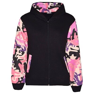 Kids Boys Girls Jackets Baby Pink Camouflage Hooded Hoodie Zipped Top Jacket