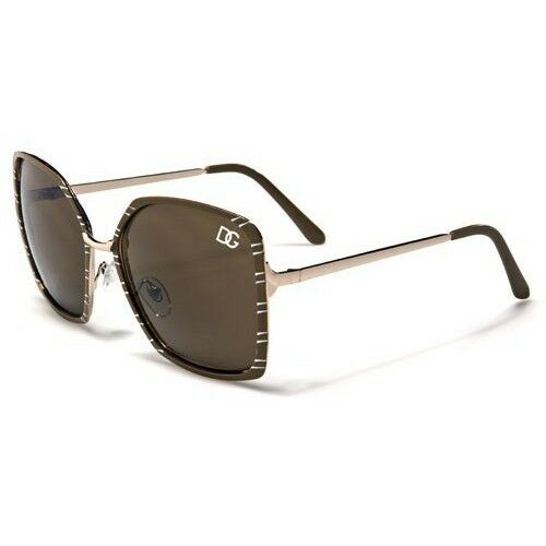 0cb2b3344d39 Buy Retro Vintage Brown Square Metal Aviator DG Eyewear Womens DESIGNER  Sunglasses online | eBay