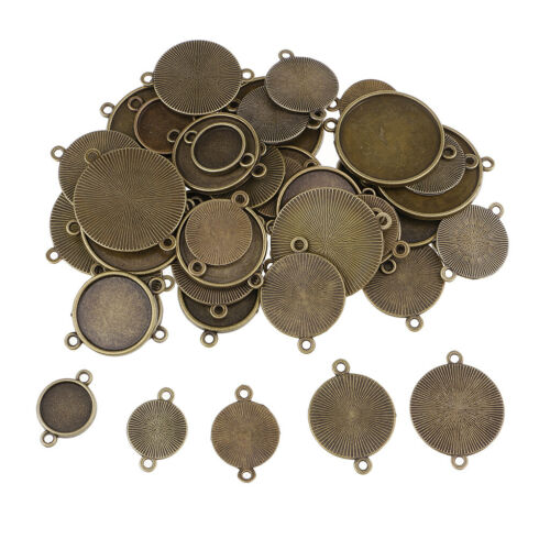 48pcs Round Bezel Tray Pendants Blanks Base Settings Charms Jewelry Findings