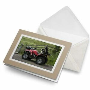 Greetings-Card-Biege-Border-Collie-Sheepdog-Quad-Farm-Bike-24179