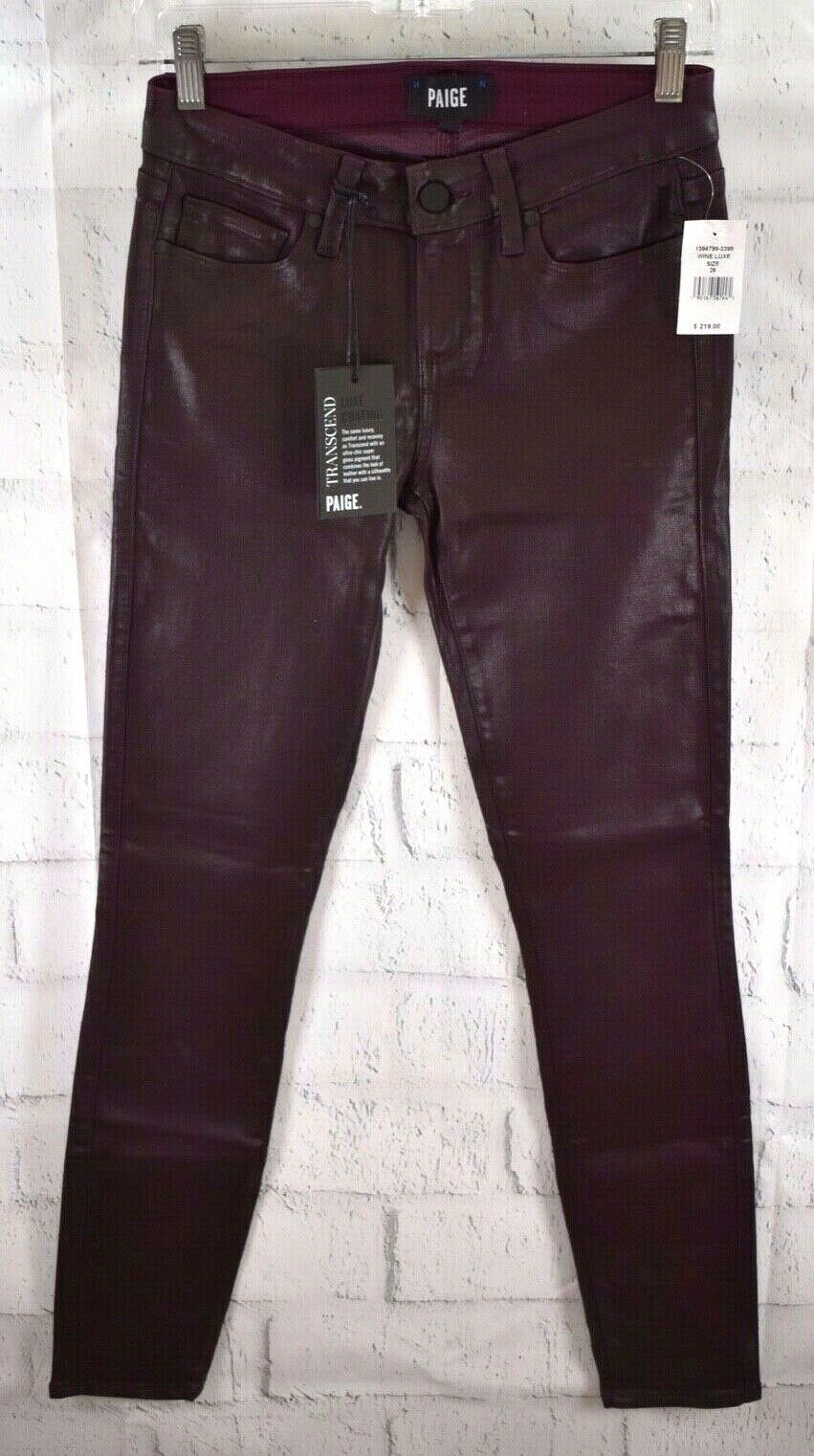 New Paige Verdugo Ultra Skinny Wine Luxe Coated Jeans Red Stretch Size 26 30 USA