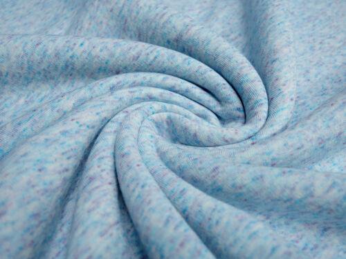 Stoff Sweatshirtstoff Tweed Optik hellblau blau Hoodiestoff Kleiderstoff