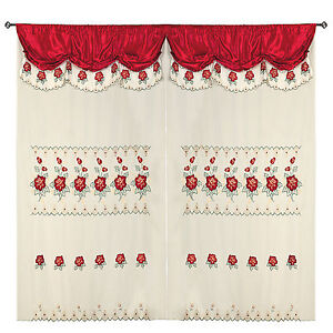 Burgundy Room Decor Embroidery Sheer Panel Window Curtain Drapes 60x90+18""
