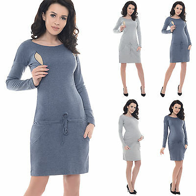 Purpless Casual Maternity and Pregnancy Tulip Dress Tunic Top with Pockets 6107