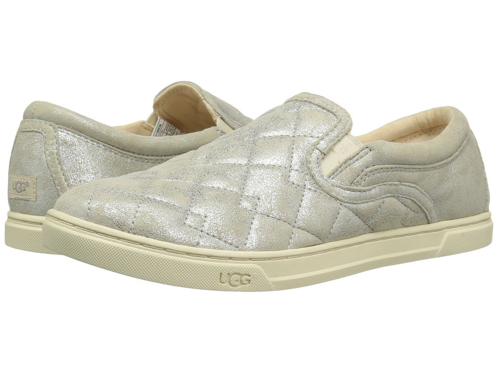 New Womens Ugg Fierce Deco Quilt Silver Leather Casual Slip On Sneakers 1019609