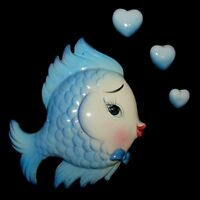 Vintage Lefton Blue Fish Wall Plaque Hanging w Heart Bubbles for Mermaid Bath
