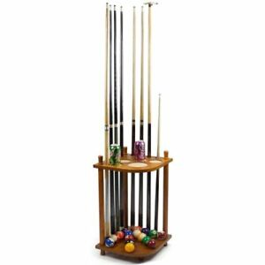 Wooden-Corner-Pool-Cue-Rack-Holds-8-Pool-Cues