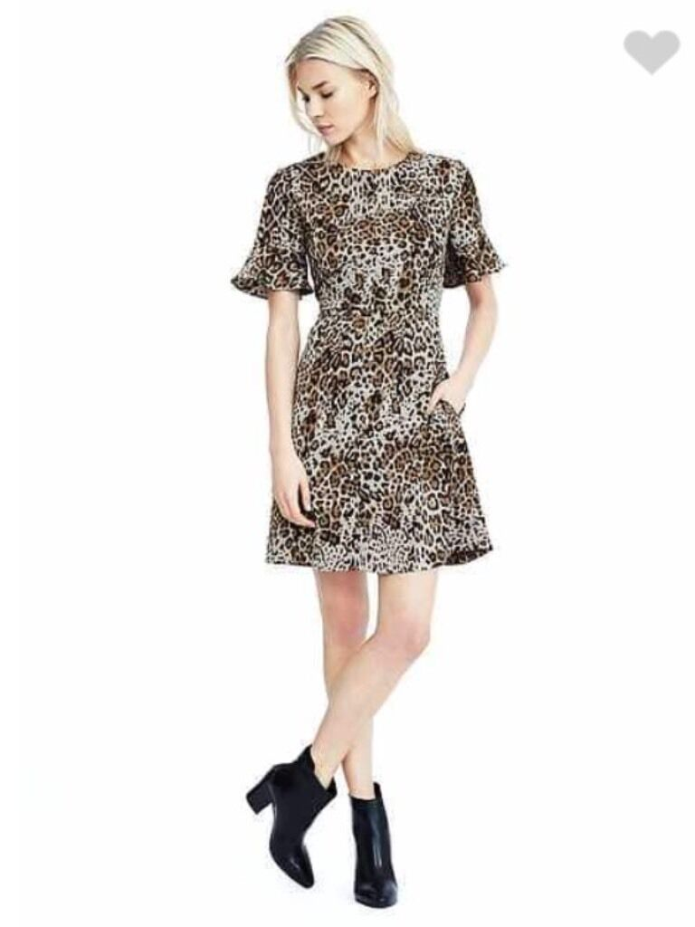 New Banana Republic Leopard braun & schwarz Print Dress Short Flare Sleeves SZ 2