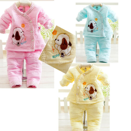 2PC lovely Newborn Girls Boys Dog Clothes Cotton Baby Winter Warm Clothes Sets