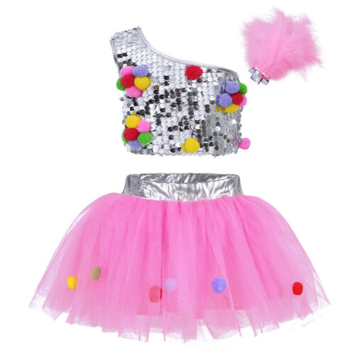 Kids Girl Sequins Fairy Costume Jazz Ballet Dance Outfits Xmas Leotard Hat Set