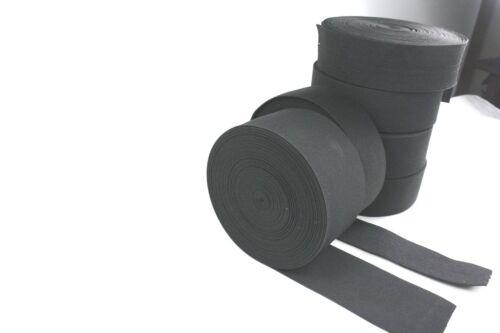 1 METER Gummiband ca.25//30 40//50//60 mm breit schwarz mittelstarker Zug