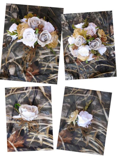 New Advantage Max 4 Bridal Bouquet Set, Camouflage Wedding Flowers, Camo Bouquet