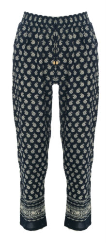 Womens Ladies Printed Palazzo Wide Leg Baggy Flared Trousers Pants Straight Leg