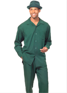 Men MONTIQUE 2pc Walking Leisure suit Long Sleeve Set 1641 Hunter Green Solid