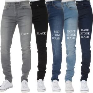 Mens-Kruze-Super-Stretch-Jeans-Ajustados-Slim-Fit-Pantalones-Cintura-amp-Pierna-basica-Todos-Tamanos