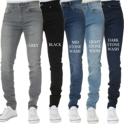 Mens Skinny Jeans Slim Fit Denim Super Stretch Regular Short Long All sizes
