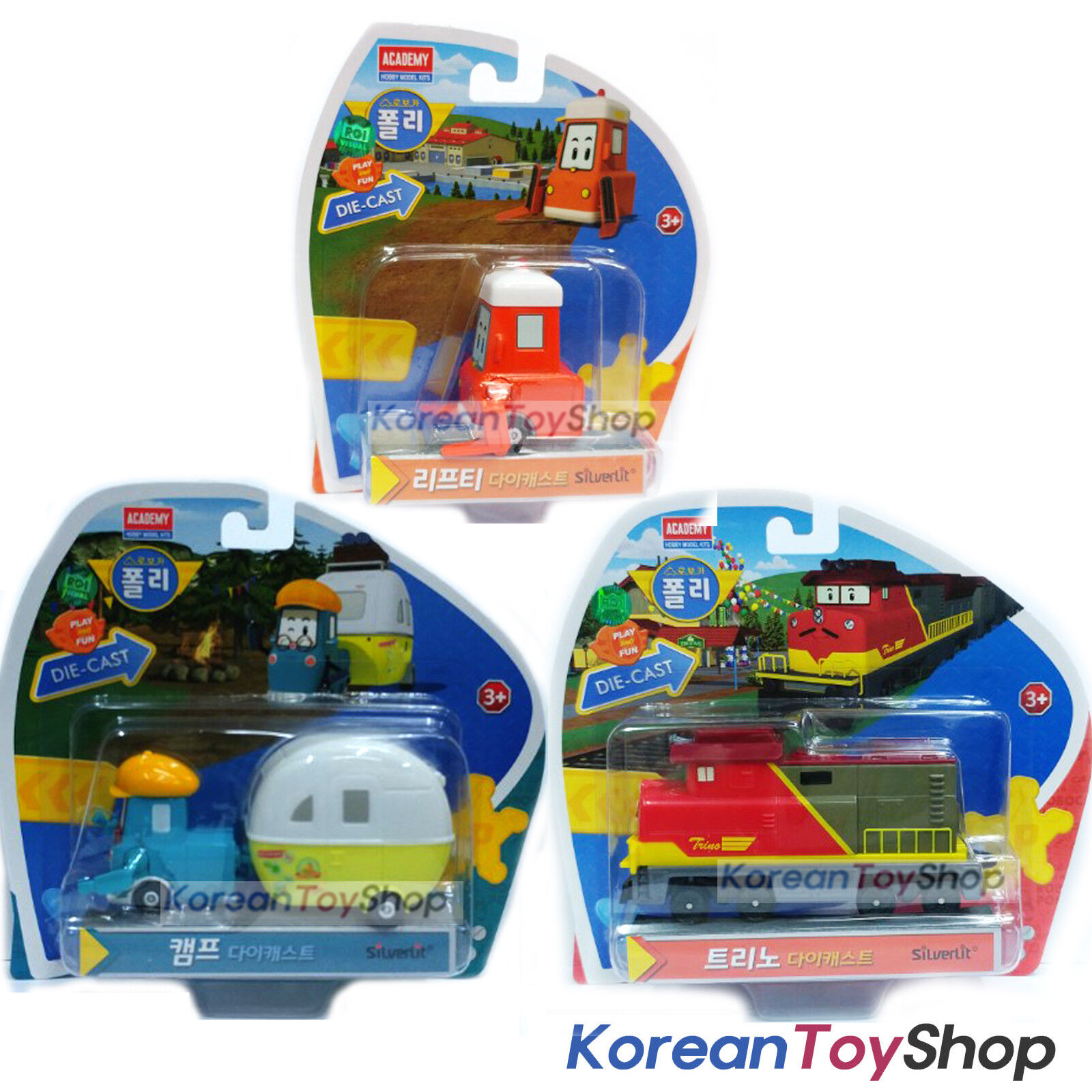 Robocar Poli LIFTY, TRINO, CAMP Diecast Metal Figure Toy Academy Original