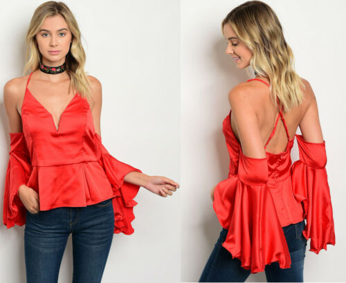 FASHION WOMENS OFF SHOULDER BELL SLEEVE PEPLUM SWEETHEART TOP SHIRT BLOUSE