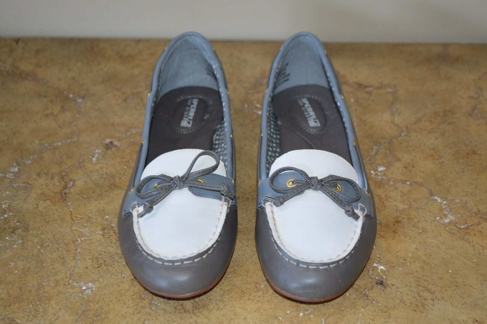 Sperry Top-sider Womens Grey Beige Leather Loafers Size 8