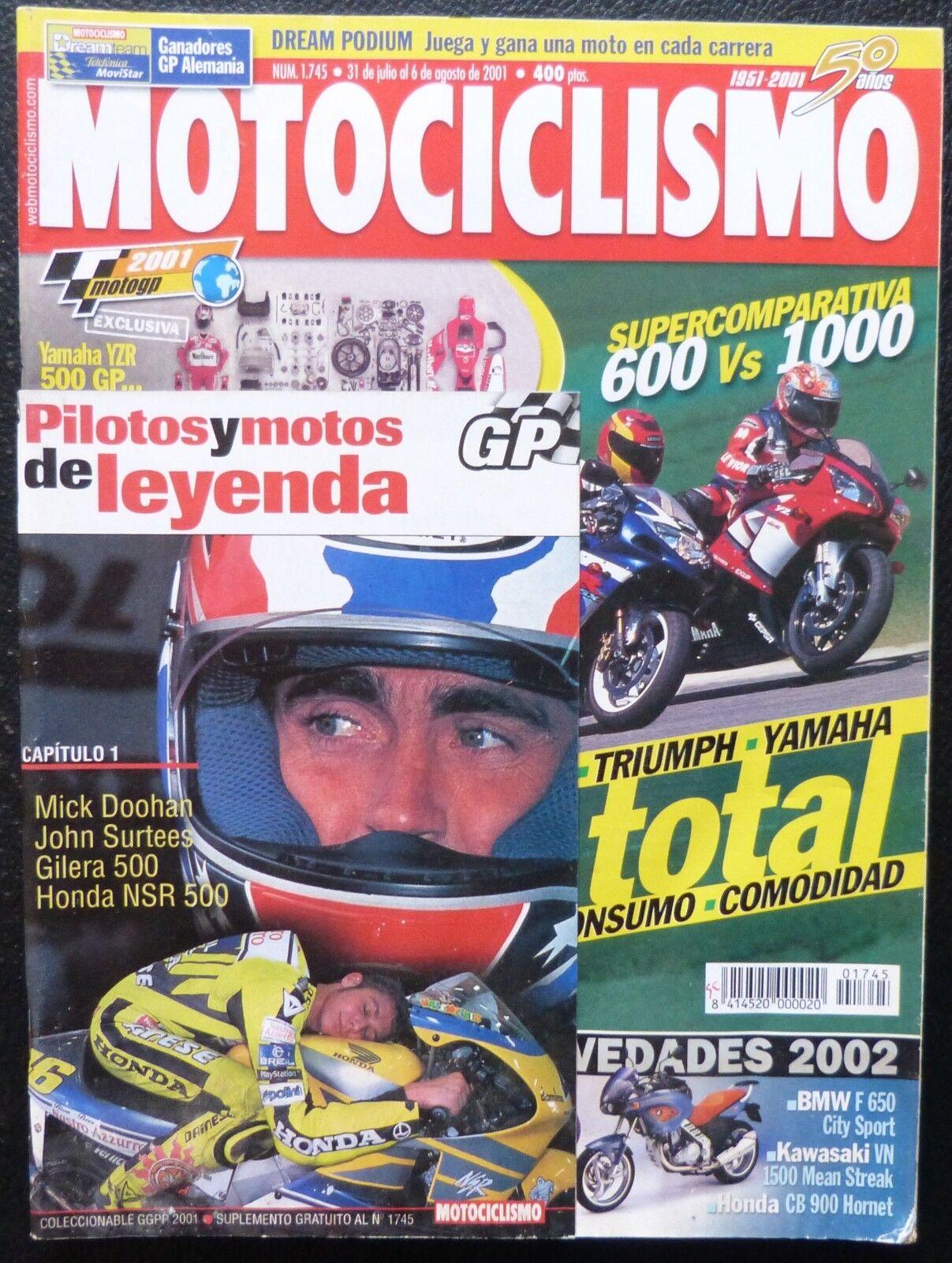 REVISTA MOTOCICLISMO,AÑO 2001,NUMERO 1745, Pilotos y motos de leyenda