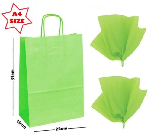 Lime Green A4 Paper Party Gift Bags /& Tissue Wrap ~ Boutique Shop Carrier Bag
