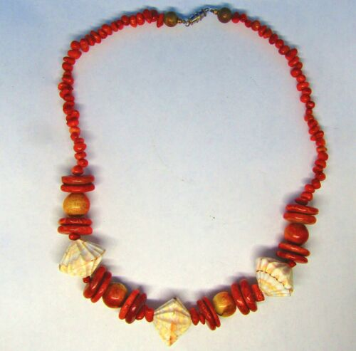 Faux Coral Necklace with Bone Beads and Shells