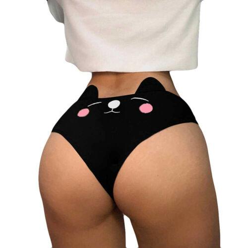 Women Funny Cat Print Lingerie G-string Briefs Underwear Panties Thongs Knickers