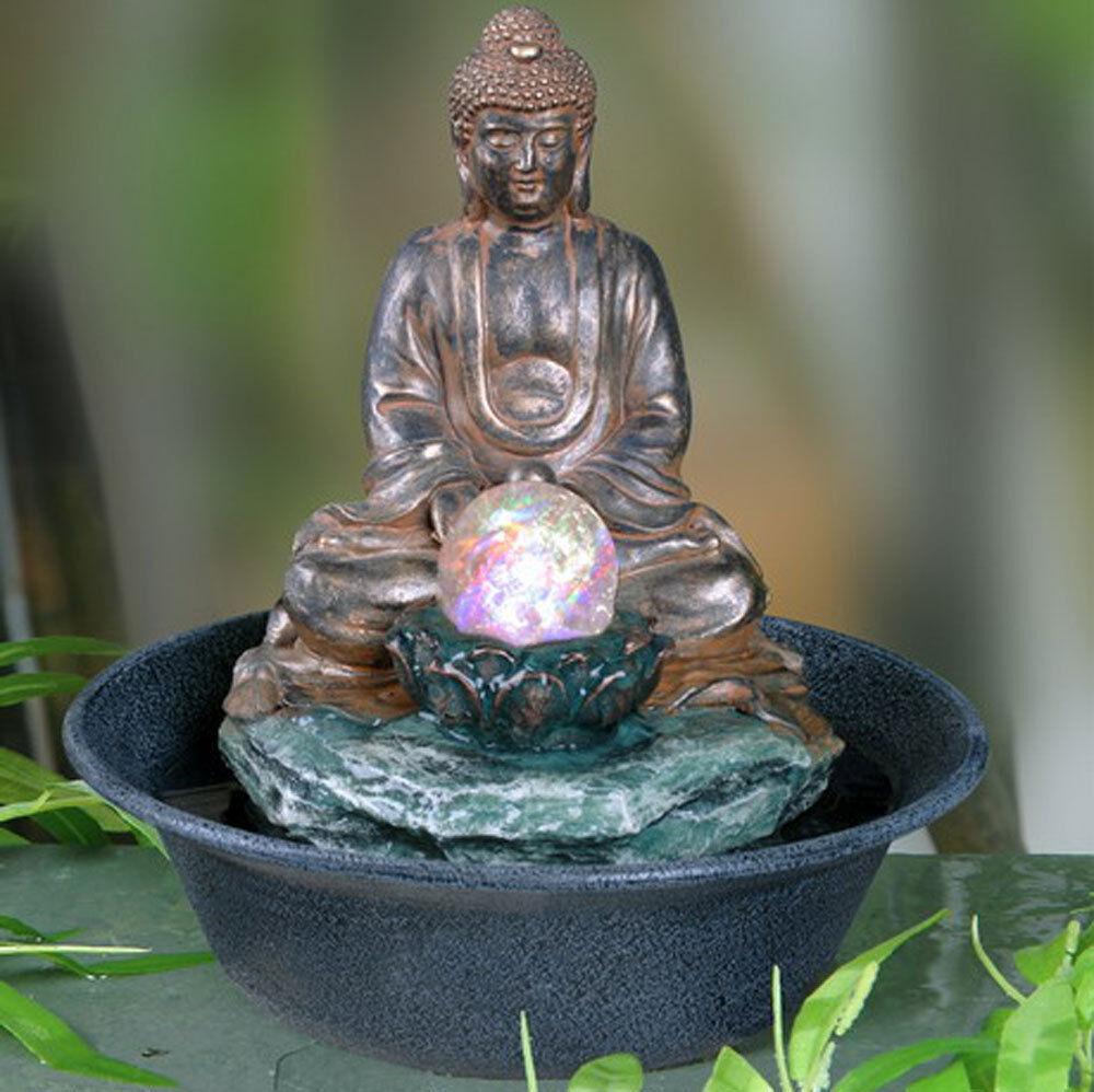 Budda da Tavolo Interno Fontana Caratteristica Dell'Acqua con Bolla Globo