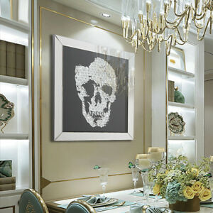 Black Silver Glitter Skull Mirrored Glass Wall Hanging