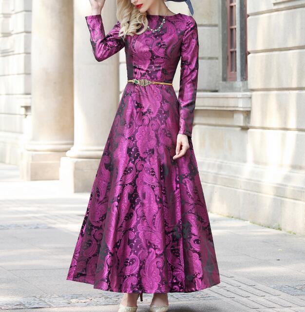 Women Charm Gorgeous Jacquard Floral Long Maxi Club Dress Ball Gown Formal Vogue
