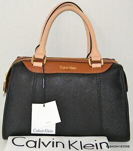 Calvin Klein Satchel Saffiano Bag Purse Handbag Sac Bolsa Black ...