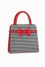 BANNED NEW  HANDBAG THE VICE BOW STRIPED RETRO ROCKABILLY WITH NEW DESIGN