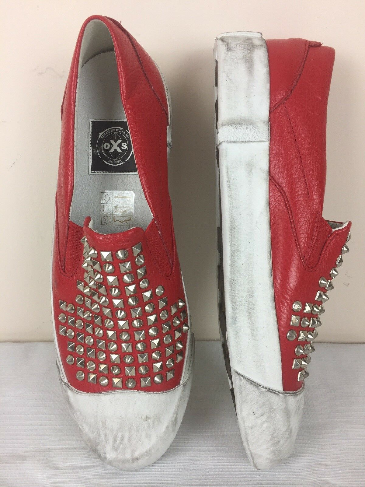 OXs Soft Leather Red Vulcanized Slip On Designer Sneakers Sz 38 US 8 Studded