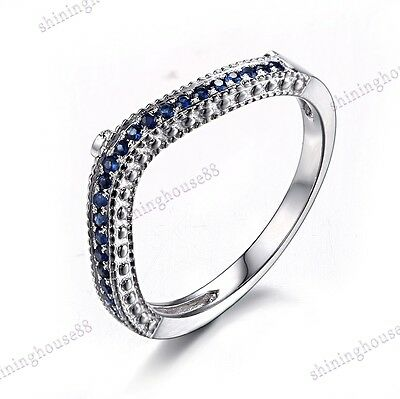 Natural Diamond Sapphires Solid 10k White Gold Anniversary Band Ring Engagement