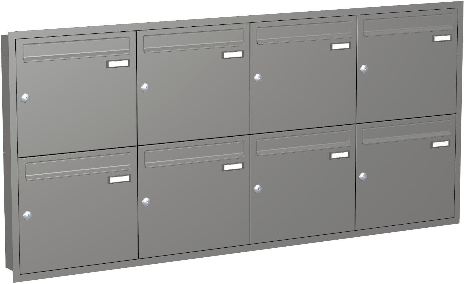 Unterputz Briefkasten anlage 8 er Rahmen TE110 Farbauswahl VA Wand Einbau UPH106