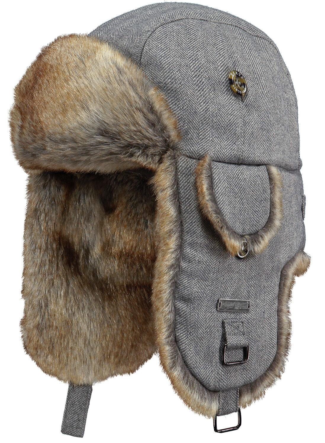 Barts Kamikaze Bomber Hat Grey Herringbone