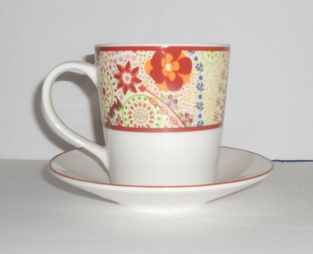 Starbucks Coffee 2007 Paisley Large Coffee Tea Mug Cup and Saucer set 11 ounces